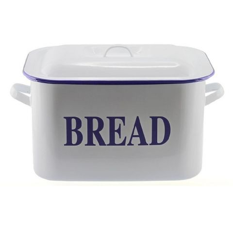 Falcon White Enamel Metal Rectangular Bread Bin Standard